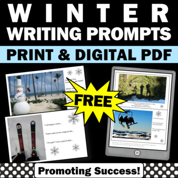 free winter writing prompts story starters literacy centers