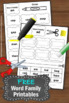 FREE Word Families Phonics Activities Worksheets Kindergar