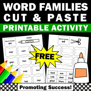 free word family activities worksheets 1st grade first