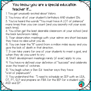 "FREE ""You know you are a special education teacher if…."" POSTER"