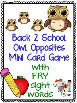 Back-2-School Owl Opposites Mini Card Game