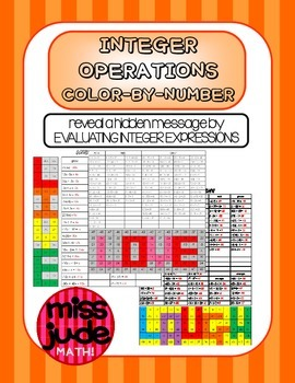Integers & order of operations color-by-number practice wo