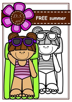 FREE - summer Digital Clipart (color and black&white)