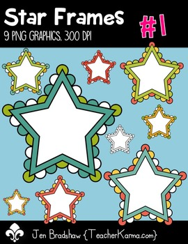 Star Frames #1 w White Centers Clip Art ~ Commercial OK ~ Borders