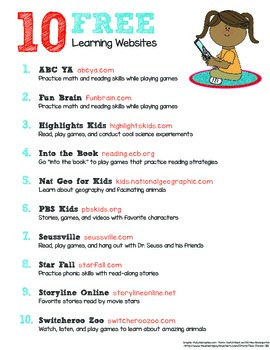 FREEBIE 10 Free Learning Websites Handout