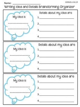 FREEBIE! 6 +1 Writing Traits: Ideas and Details Brainstorm