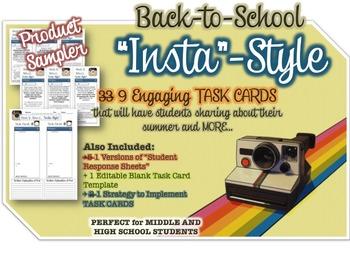 "FREEBIE - 9 Back to School TASK CARDS - ""Instagram Style"""