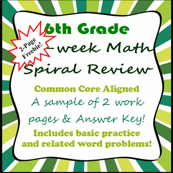 FREEBIE - 6th Grade 2-Page Math Spiral Review Sample