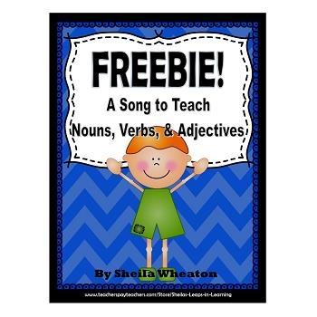 FREEBIE:  A Song to Teach Nouns, Verbs, & Adjectives!