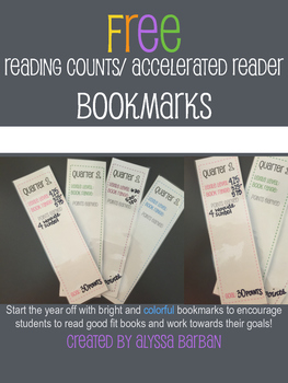 FREEBIE! Accelerated Reader/ Reading Counts Bookmark