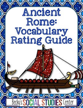 Ancient Rome Vocabulary Rating Guide - Words and Definitions