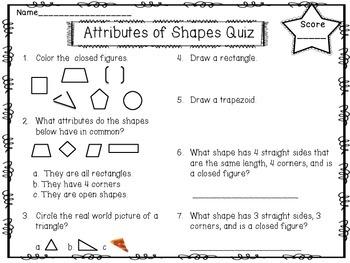 FREEBIE!!!Attributes of Shapes Quiz!!