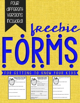 FREEBIE! Back to School Forms to Get to Know Your Students