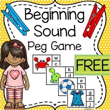 FREEBIE Beginning Sound Peg Game