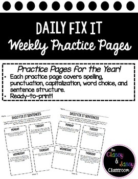 FREEBIE! Bellwork Daily Fix It Printable- Grammar, Spellin