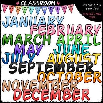 FREEBIE Calendar Word Art Clip Art - Monthly Titles Clip Art