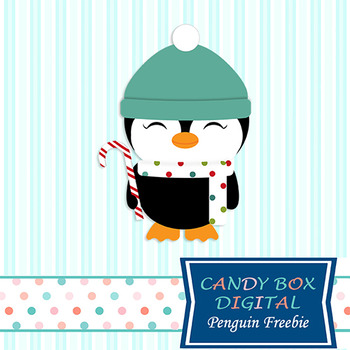 FREEBIE - Candy Cane Penguin Clip Art - Commercial and Per