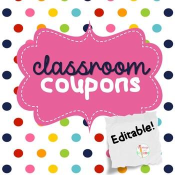 FREEBIE Editable Classroom Coupons