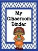 {FREEBIE} Classroom/Teacher Binder Pages -Blue Chevron Background