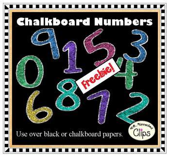 FREEBIE! Clip Art - Chalkboard Numbers