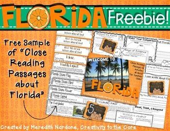 FREEBIE Close Reading Florida Sample