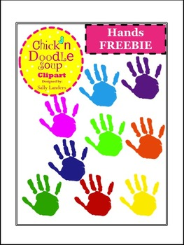 FREEBIE! Colorful Hands Clipart {Chick'n  Doodle Soup}