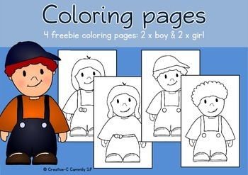 FREEBIE: Coloring pages Boys and Girls - ALL ABOUT ME and