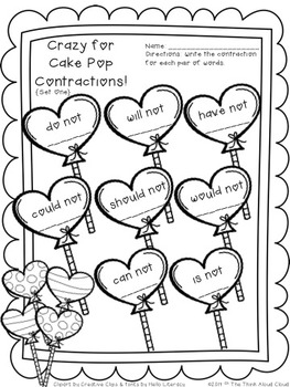 FREEBIE Contractions ~ One Page Crazy for Cake Pops SAMPLE