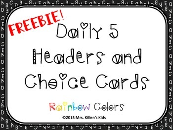 FREEBIE Daily 5 Headers and Choice Cards - Rainbow Colors
