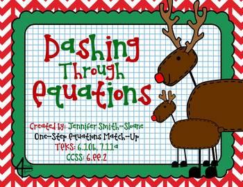 FREEBIE Dashing Through Equations (One Step Equations)