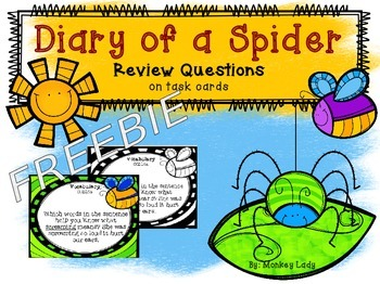 FREEBIE Diary of a Spider Review Task Cards for Houghton M