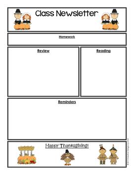 FREEBIE Editable Classroom Newsletter - Thanksgiving