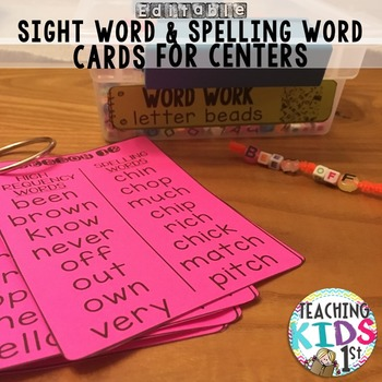 FREEBIE Editable Spelling and High Frequency Word Cards