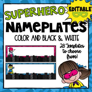 FREEBIE- Editable Superhero Nameplates