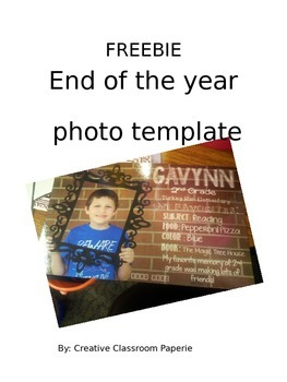 FREEBIE End of the Year Photo Template