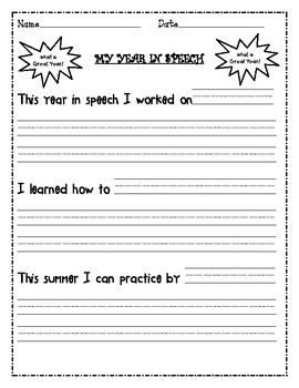 FREEBIE!  End of the Year Speech Therapy Reflection Sheet