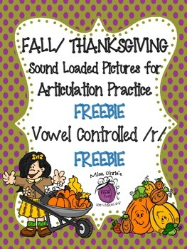 FREEBIE Fall/Thanksgiving Sound Loaded Pictures for Artic.