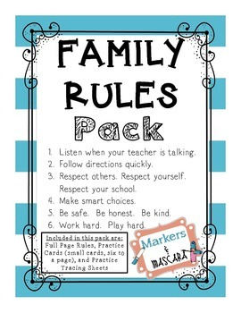 FREEBIE!  Family Rules Pack