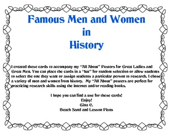 FREEBIE: Famous Men and Women in History Cards