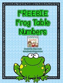 FREEBIE Frog Table Numbers