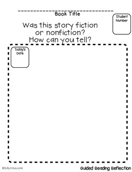 FREEBIE - Guided Reading Reflection - Proving Fiction or N