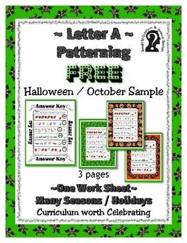 FREEBIE ~ Halloween / October Letter A Patterning Work She
