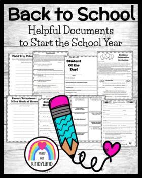 FREEBIE: Helpful Documents to Start the School Year (Open