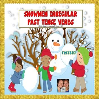 FREEBIE!! Irregular Past Tense Verb Snowmen Match Up