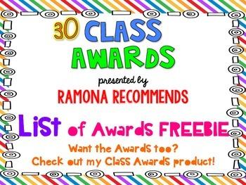 FREEBIE List of Classroom Awards