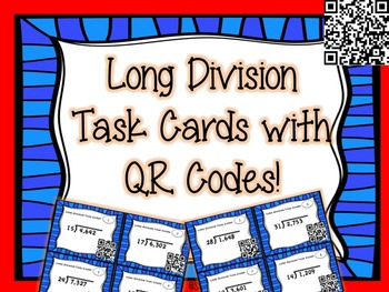 FREEBIE!! Long Division Task Cards with QR codes - 2 digit