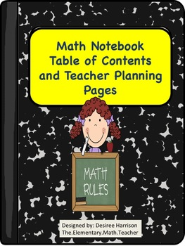 {FREEBIE} Math Notebook Table of Contents and Teacher Plan