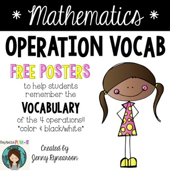FREEBIE Math Posters with the Vocabulary of the 4 Operations!