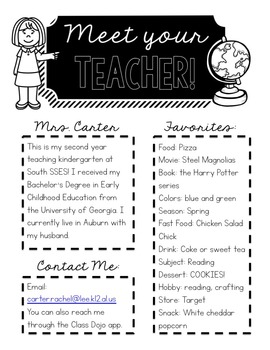 FREEBIE - Meet Your Teacher Editable handout