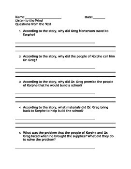 FREEBIE: Module 1 Listen to the Wind Comprehension Questions